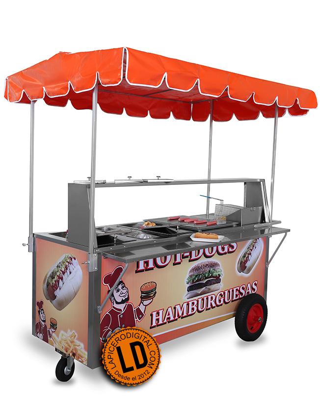 Carrito de perros calientes y carrito de hamburguesas modelo HC